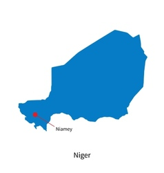 Detailed map of niger and capital city niamey vector
