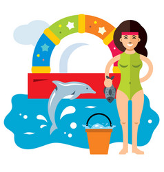 dolphinarium concept flat style colorful vector image vector image