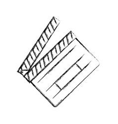 Figure clapper board action video filmstrips vector