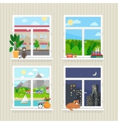 flat windows with landscape vector image