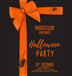 halloween party poster with black gift box vector image vector image