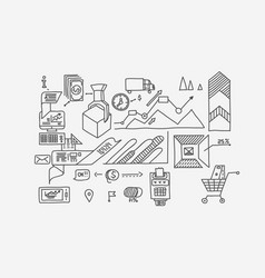 hand draw doodle elements bank business finance vector image vector image