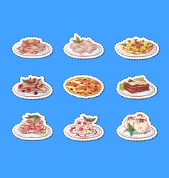 Italian cuisine dishes isolated labels vector