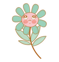 Kawaii flower plant thinking with cheeks and eyes vector
