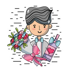 Man with bouquet flowers and champagne vector
