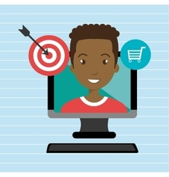 man with computer isolated icon design vector image