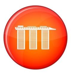 Marina Bay Sands Hotel Singapore icon flat style vector image