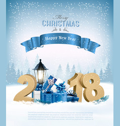 merry christmas background with 2018 and gift vector image