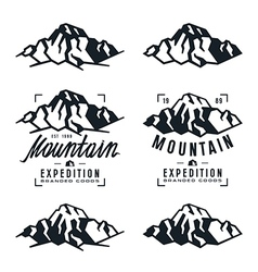 Mountain expedition badges and design elements vector image