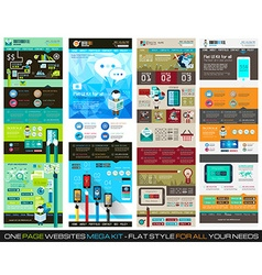 One page website flat ui design template set 1 vector