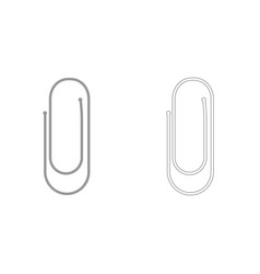 Paper clip grey set icon vector