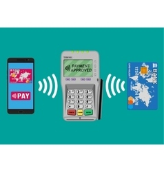 Payments using terminal phone bank card vector