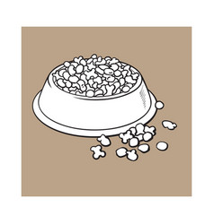 Plastic bowl filled with dry pelleted pet cat vector