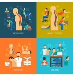 Posture 2x2 design concept set vector