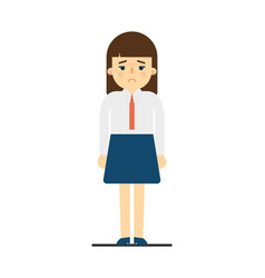 Sad young woman in uniform character vector
