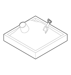 Sandbox icon in outline style vector image