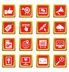 seo icons set red vector image