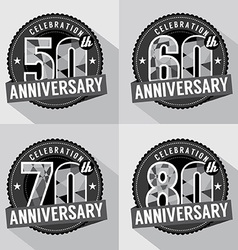 Set of anniversary celebration design vector