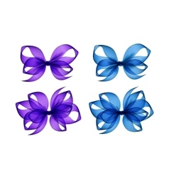 Set of purple light blue transparent gift bows vector