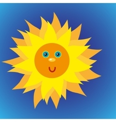 shiny sun in the blue sky vector image