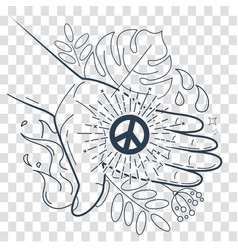 Silhouette hand with the symbol of peace vector