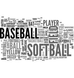 Softball word cloud concept vector