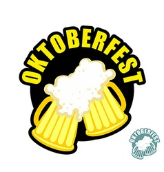 Two beer mugs clink Symbol of Oktoberfest logo vector image