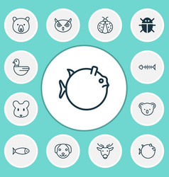 zoo icons set collection of seafood skeleton vector image vector image