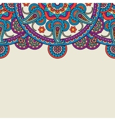 Indian paisley doodle upper border vector