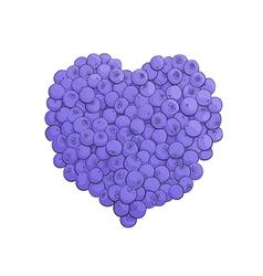 Blueberry heart shape vector