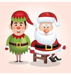 Card santa claus sit with elf design isolated vector