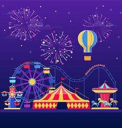 Amusement park at night vector