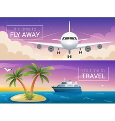 Travel banners set passenger airplane in vector