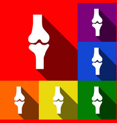 Knee joint sign  set of icons with flat vector