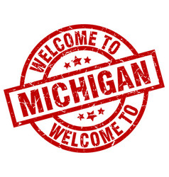 Welcome to michigan red stamp vector