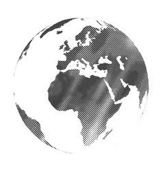 Grunge halftone texture gray world map globe vector