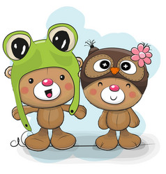 Two cute cartoon bears in a frog and owl hat vector