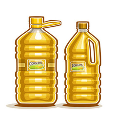 2 big yellow plastic bottles with corn oil vector