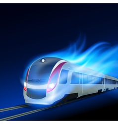 High-speed train in motion blue flame at night vector