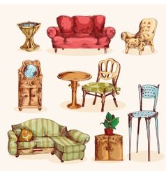 Furniture sketch colored vector