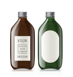 Set of different empty glass bottles vector