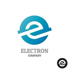 Letter e logoindustrial tech style in a blue round vector