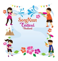 Songkran festival kids playing water frame vector