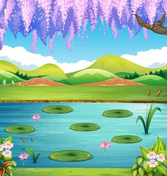 Scene with lake and hills vector