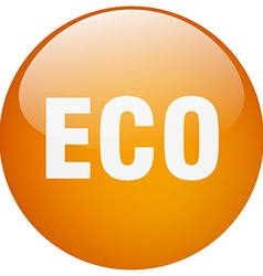 Eco orange round gel isolated push button vector