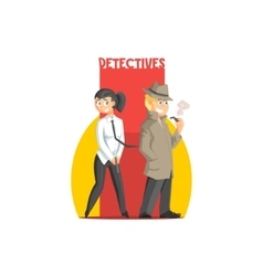 Private detectives couple banner vector