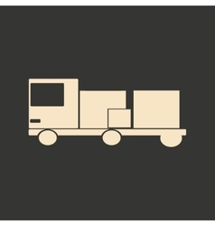Flat in black and white mobile application lorry vector