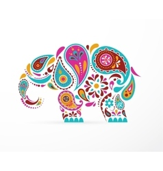 India - parsley patterned elephant Indian icon vector image