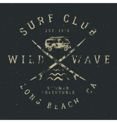 Surfing tee design in vintage rubber style with vector image