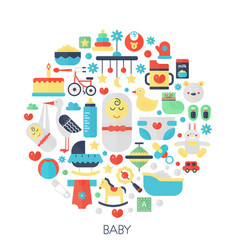 baby flat infographics icons in circle - color vector image vector image